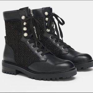 ZARA COMBAT BOOTS WITH PEARL DETAIL NWT!